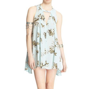 Free People Mint Green Floral Tree Swing Tunic Top